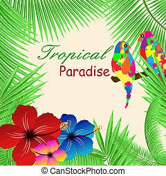 Tropical paradise frame - Tropical paradisebackground with...