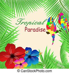 Tropical paradise frame - Tropical paradisebackground with...