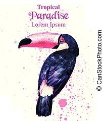 Tropical paradise parrot bird watercolor Vector. Paint splash colorful background