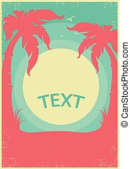 Tropical paradise retro poster.Vector horizon background for text
