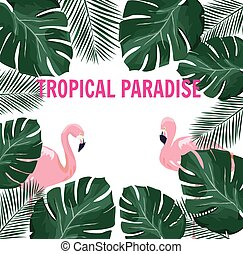 Tropical Paradise - vector tropical paradise with flamingos,...