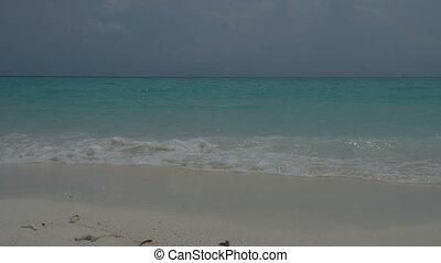 White sand on the coast of Maldives - Tropical Paradise....