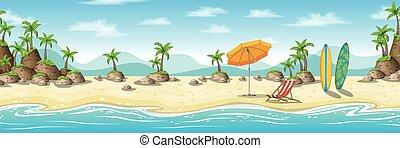 tropical, paraguas, tabla de surf, ilustración, deckchair,...