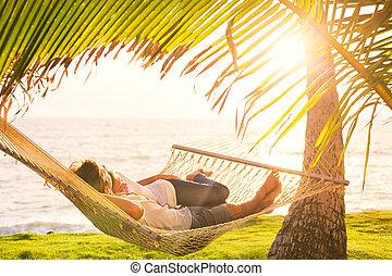 tropical, pareja, hamaca, relajante