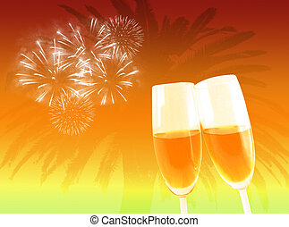 Tropical party - Two wine glasses to celebrate at a tropical...