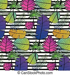 Tropical Pattern Background. Hand Drawn Vector Illustration.