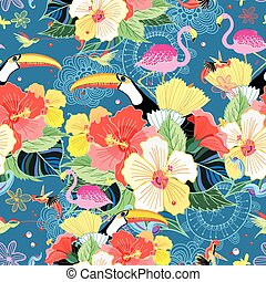 tropical pattern with birds - bright seamless tropical...