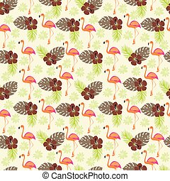 Tropical pattern with flamingo and palm leaves, exotic birds and flowers
