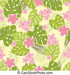 tropical pattern with leaves and flowers