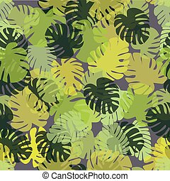 Tropical pattern with monstera leaves. A simple background for printing on textile, fabric, wrapping paper, covers, Wallpapers, backdrops, web pages. The theme of summer vacation. Vector illustration