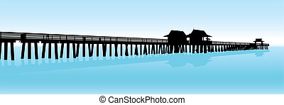 Tropical Pier - Silhouette of a tropical pier on the Gulf of...