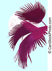 tropical pink palm leaves with moon abstract background