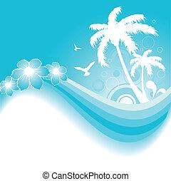tropical, plano de fondo, en, azul