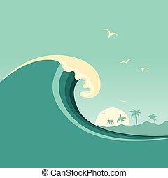 tropical, plano de fondo, océano, island., vector, cartel, ...