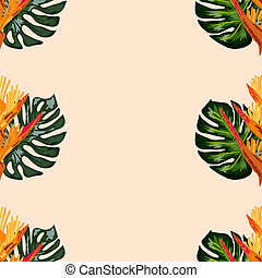 tropical, plano de fondo, seamless, hoja, lobster-claws, o, flores, patrón, heliconia