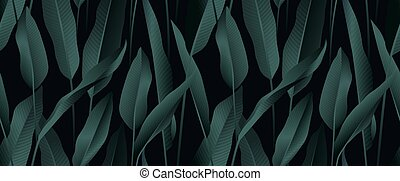 Tropical plant seamless pattern, Bird of paradise leaves on black background