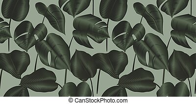 Tropical plant seamless pattern, Philodendron silk leaves