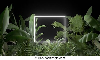 Tropical plant with neon light on an black background