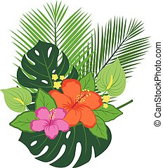 Tropical plants and flowers arrangement.
