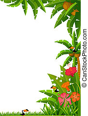 tropical plants and parrots - Background with tropical...