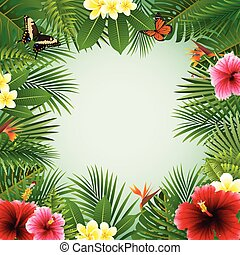 Tropical plants background - Vector illustration of Tropical...