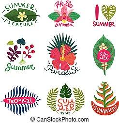 Tropical Plants Emblems Set