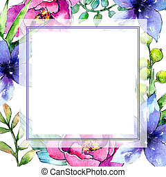 Tropical plants frame in a watercolor style.