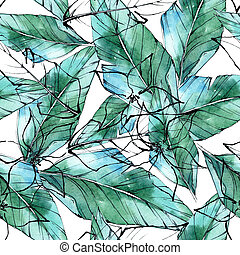 Tropical plants pattern in a watercolor style.