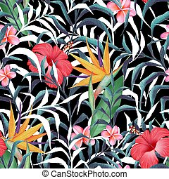 Tropical plants. Seamless floral pattern in watercolor style