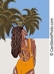 tropical, playa., bronceado, traje de baño, vista, espalda, morena, naranja