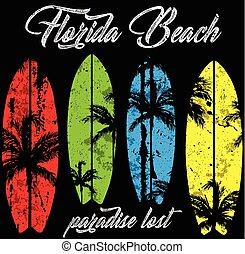 tropical, playa puesta sol, florida