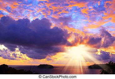 tropical, playa puesta sol