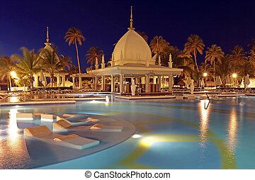 Tropical pool at night, Aruba, Caribbean