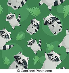 Tropical racoon pattern, cartoon style - Tropical racoon...
