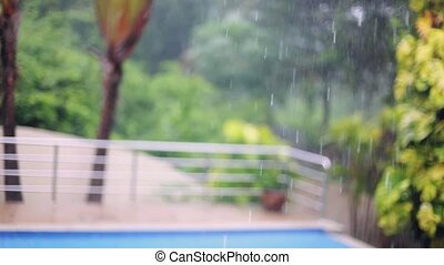Tropical rain drops falling on the palm leaves on swimming pool blurred background in Koh Samui, Thailand. 1920x1080