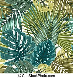 Tropical rainforest palm monstera leaves camouflage seamless pattern texture. Bright green turquoise blue on beige background. Vacation holidays paradise island. Botanical vector design illustration.