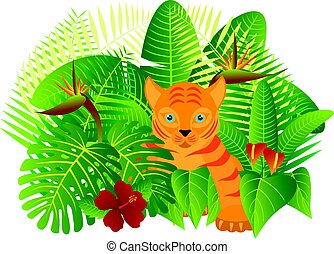 Tropical Rain Forest Jungle Plants with Leaves Flowers and Tiger Cub Isolated on White Background Color Illustration