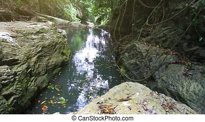 Tropical rainforest landscape with beautiful waterfall, rocks and jungle plants. Koh Samui. Thailand.
