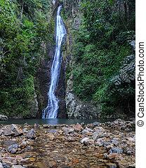 Tropical rainforest waterfall