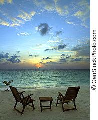 tropical, recurso, maldivas, -, playa