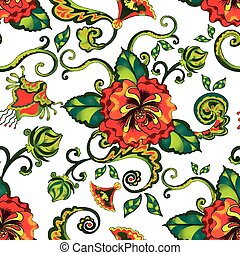 tropical red floral pattern seamless background