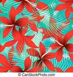 Tropical red frangipani hibiscus with palms seamless pattern...