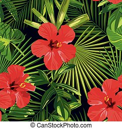 Tropical red hibiscus green palm leaves seamless pattern