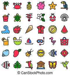 Tropical related vector icon set, filled style