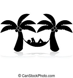 Tropical relax - Icon illustration showing a man relaxing on...