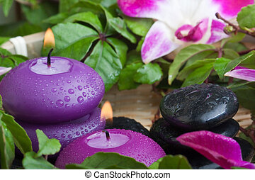 tropical relaxation (2) - wet purple toned candles and...