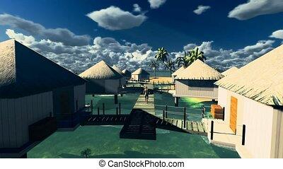 Tropical resort at sunset - Bora Bora
