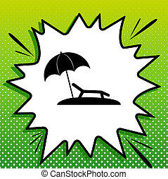 Tropical resort beach. Sunbed Chair sign. Black Icon on white popart Splash at green background with white spots. Illustration.
