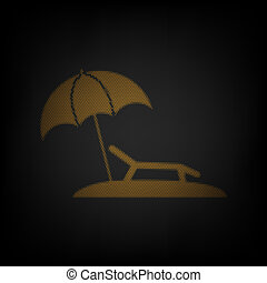 Tropical resort beach. Sunbed Chair sign. Icon as grid of small orange light bulb in darkness. Illustration.
