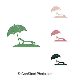 Tropical resort beach. Sunbed Chair sign. Russian green icon with small jungle green, puce and desert sand ones on white background. Illustration.